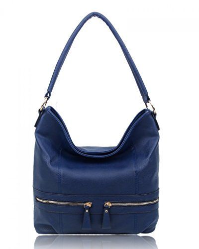 LeahWard? Women's Fashion Style Handbags Faux Leather Shoulder Bag Tote Bags For Ladies CW150906 NAVY ZIPPER