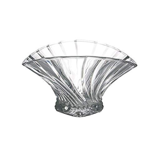 (IMBM Fruit Bowls Salad Bowls Modern Transparent Glass Fan Shaped Fruit Basket Sugar Bowl Candy Dried Fruit Tray Display Dish For Kitchen Dining Room)
