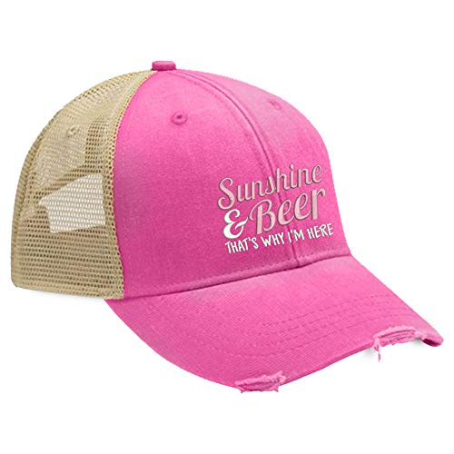 Piper Lou - Sunshine and Beer Trucker Hat with Snapback Enclosure - Neon Pink