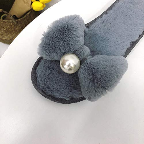 Heel Slipper Anti Prime Bowknot Slip Toe KJJDE LJXY Open Gray Women's Home 08041 Cotton Indoor House Flat RFwq7xy5fp