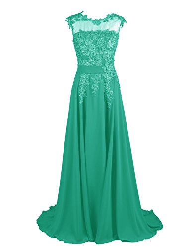 (Dresstells Long Bridesmaid Dress Applique Prom Dress Evening Party Gowns Green Size 14)