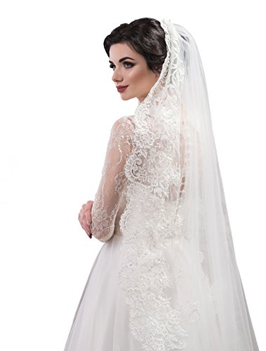 "Bridal Veil Mary from NYC Bride collection (cathedral 108"", white) by NYC Bride"