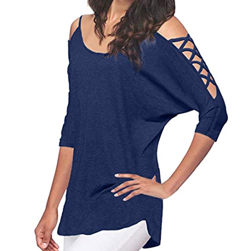 Clearance Women Tops LuluZanm Cold Shoulder Half Sleeve Tops Casual Hollowed Out Tops -