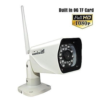 Cámara de seguridad inalámbrica para exterior, 1080p, full HD, P2P, WiFi Cámara de seguridad para el ...