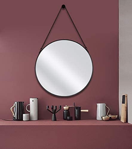 Nugorise 20 Round Mirror, Wall Metal Framed Mirror with Hanging Chain, Decorative Circle Vanity Mirror for Bathroom, Bedroom and Living Room, Black