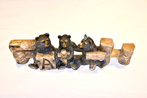 "Home Decor ""Faith"" Black Bears Family Word Sign Western Decor Rustic Nature Lovers Gift"