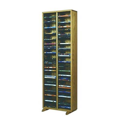 Cdracks Media Furniture Solid Oak Tower for DVD Capacity 128 DVD's Honey Finish (Individual Locking Slots) ()
