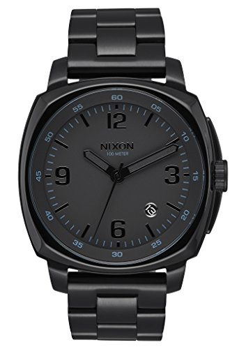 Nixon Men's 'Charger' Quartz Metal and Stainless Steel Watch, Color:Black (Model: (Black Square Metal Watch)