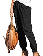 WJANYHN Kvinnors enfärgade vardagliga modefickor snörning overallbyxor dambyxor