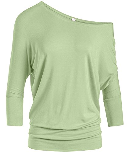 Dolman 3/4 Sleeve Off The Shoulder Drape Top with Banded Waist - Made in USA (Size Large, Sage)