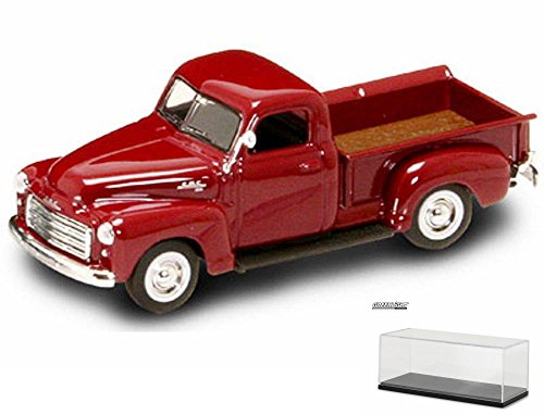Diecast Car & Display Case Package - 1950 GMC Pickup Truck, Red - Yatming 94255 - 1/43 Scale Diecast Model Toy Car w/Display Case