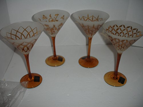 (MIKASA Cheers Artistry Martini, Tapestry 11 Oz. Set of 4 Amber )