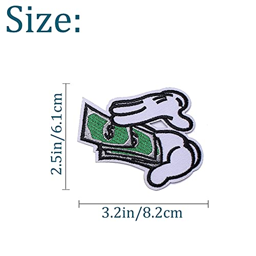 TACVEL Counting Money Embroidered DIY Sew on / Iron on Patches for Clothing, Vest, Jackets, Backpacks, Caps, Jeans to Repair Holes / Logo