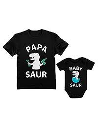 Papa Saur - T-Rex Dad & Baby Saur T-Rex Baby Matching Set Father's Day Gift