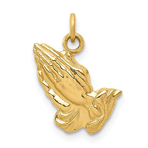 14k Yellow Gold Praying Hands Pendant Charm Necklace Religious H Fine Jewelry Gifts For Women For Her