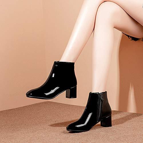 Y2Y Studio Bottines Courtes de Pluie Chaussures Femmes Vernis Talon Bloc  7.5cm Petit Bout Carre avec Fermeture Eclair pour Automne Hiver Simple Boots  pour ... 55d6079efc9c