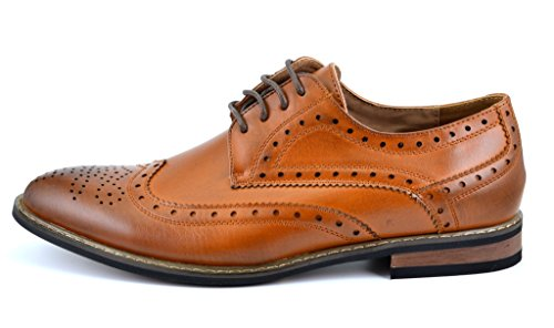 DREAM PAIRS Bruno Homme Moda Italy Prince-3 Men's Classic Modern Oxford Wingtip Lace Dress Shoes Prince-3-brown 10.5 D(M) US