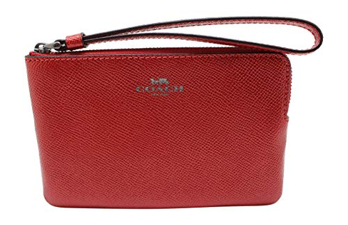 Coach Crossgrain Leather Metallic Corner Zip Wristlet (Metallic Hot Pink)