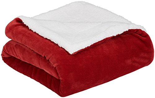 AmazonBasics Soft Micromink Sherpa Throw Blanket - King, Red