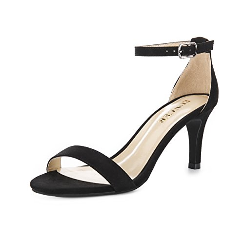 Eunicer Women's Open Toe Ankle Strap High Heel Stiletto Sandals Party Dress Shoes,Black Suede,7 B(M) US - Ankle Strap Dress Shoes