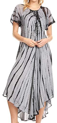 Sakkas 17601 - Yasmin Tie Dye Embroidered Sheer Cap Sleeve Sundress | Cover Up - Black/Grey - OS
