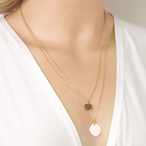 - Botrong® Clearance Gold Infinity Charm Simple Double Layers Chain Sequins Pendant Necklace