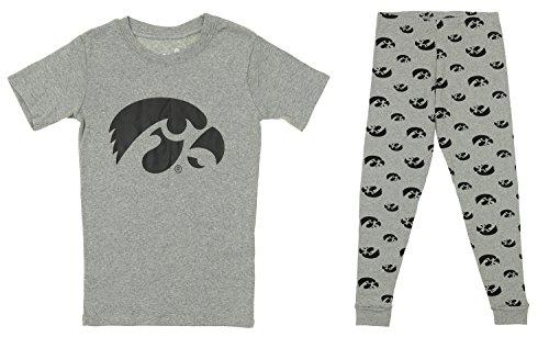 OuterStuff NCAA Little and Big Boy's Short Sleeve Tee and Pant Sleep Set, Iowa Hawkeyes Large (Iowa Tee)