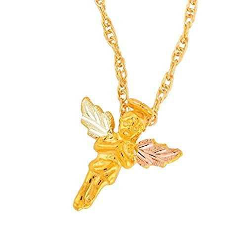 """Guardian Angel Pendant Necklace, 10k Yellow Gold, 12k Green and Rose Gold Black Hills Gold Motif, 18"""""""