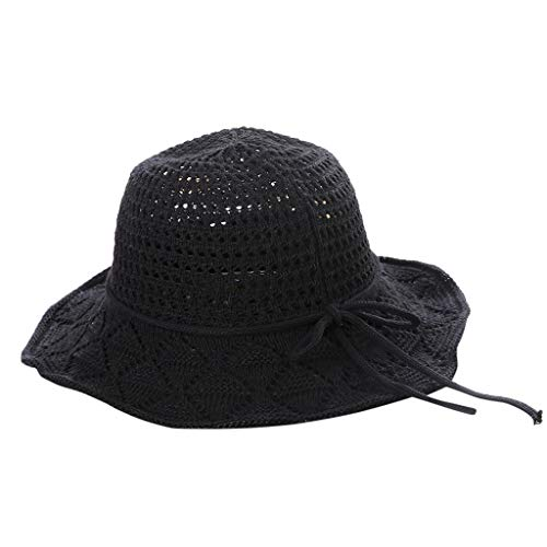 Gallity Women's Foldable Floppy Sunscreen Beach Sun Hat Summer Solid Wide-Brimmed Sun Visor Cap