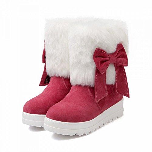 Carol Shoes Fashion Womens Comfort Bowknots Cute Warm Lovely Hidden Heel Snow Boots Peach NpXv3wLr