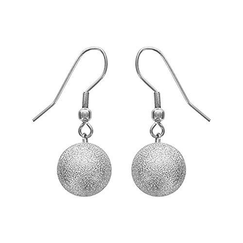 Granite Drop Pendant - So Chic Jewels - Stainless Steel 12 mm Silvery Granite Look Ball Pendant Dangle Hook Earrings