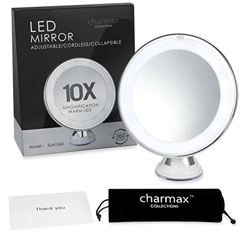 charmax 6 8 10x magnifying lighted makeup mirror with bag natural led light. Black Bedroom Furniture Sets. Home Design Ideas