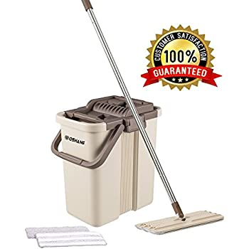 Oshang Flat Squeeze Mop and Bucket - Hand-Free Wringing Floor Cleaning Mop - 2 Types Washable & Reusable Microfiber Mop Clothes/Pads Included - Wet or Dry Usage on Hardwood, Laminate, Tile