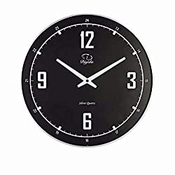 SMC 14-inch Silent Non-ticking Modern Ultra Thin Wall Clock, Black Wall Clock Plastic Frame