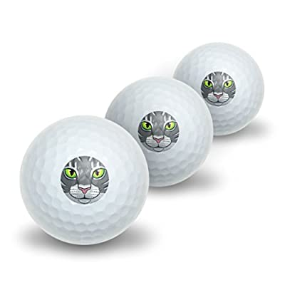 Graphics and More Grey Gray Tabby Cat Face - Pet Kitty Novelty Golf Balls 3 Pack