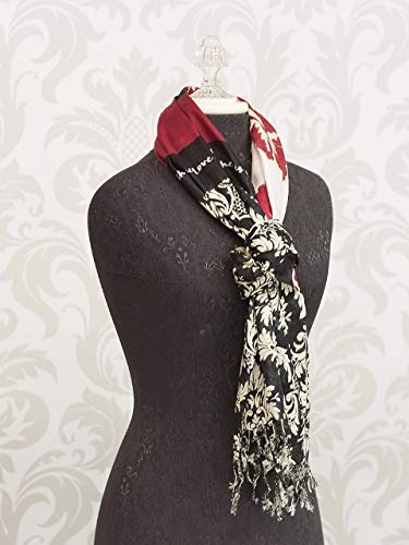 Faith Hope Love Black Red Damask Pattern Womens Lightweight Fashion Scarf