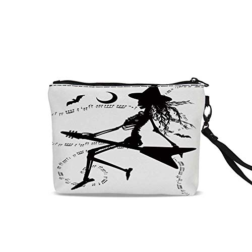 Music Portable Travel Makeup Cosmetic Bags,Witch Flying on Electric Guitar Notes Bat Magical Halloween Artistic Illustration For Women Girl,9