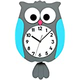 Owl Pendulum Clock with Automatic Night Silence Wall Clock Kid's Room Home Decoration MAKINOU (Natural Brown)