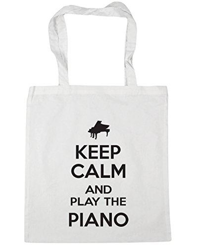 Play Bag Calm HippoWarehouse 10 Shopping 42cm Gym Beach the Piano Keep White Tote litres and x38cm qvqWr1tS5