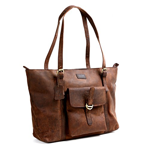 "Cuero 16"" Brown Leather Women's Bag/handbag/purse/shopping Tote Bag"