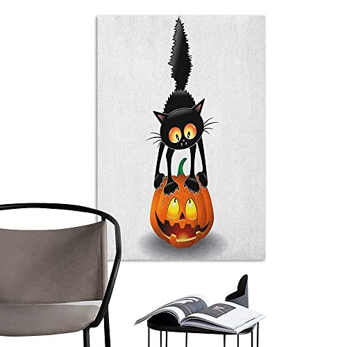 Wall Stickers Halloween Black Cat on Pumpkin Drawing Spooky Cartoon Characters Halloween Humor Art Orange Black School Dormitory Classroom W16 x H20]()