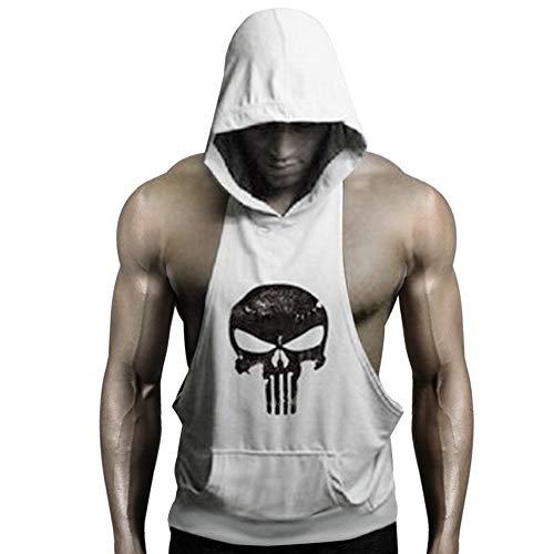 GZXISI Mens Skull Print Stringer Bodybuilding Gym Tank Tops Workout Fitness Vest (White Hoodie, Large)