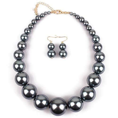 - Lyhcside Simple Big Faux Pearl Chunky Choker Bib Statement Necklace Earrings Fashion Costume Jewelry Set for Women (Hematite)