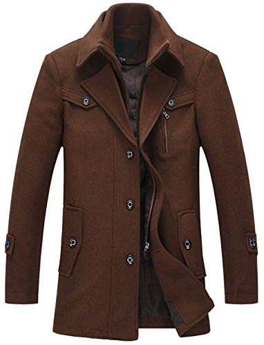 - Youhan Men's Wool Blend Car Coat with Detchable Bib (X-Large, Brown)