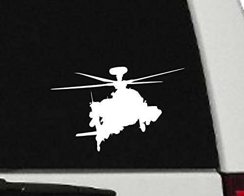 Decal - Helicopter - Apache Helicopter Silhouette Vinyl Decal - Military Car Decal - H8 (4