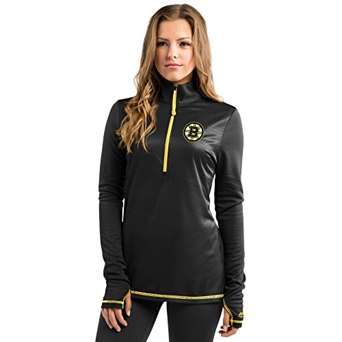 NHL Majestic Backchecking Women's 1/2 Zip Synthetic Pullover (L, Boston Bruins)