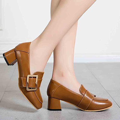 Easemax Womens Retro Round Toe Low Cut Low Block Heel Pumps Shoes Brown mgare