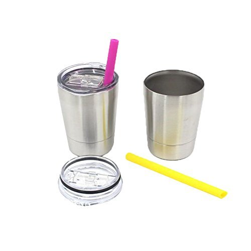 8.5 oz Kids Tumbler Insulated Double Wall cup with Colorful Silicone Straws | Stainless Steel Toddler Mug with Lid and Straw | Unbreakable & BPA Free | Set of 2 Colorful Silicone Straws