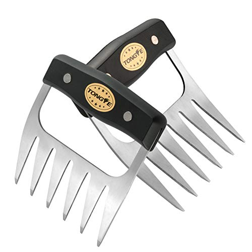 TONGYE Stainless Steel Meat Claws, Metal Pulled Pork Shredder for Shredding, Pulling, Handling, Lifting, Carving Heavy Duty Foods. BBQ Forks - Barbecue Handler Set of Grill Smoker. (Black Handle)