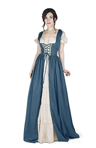 Renaissance Medieval Irish Costume Over Dress & Boho Chemise Set (2XL/3XL, Teal)